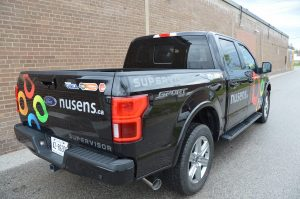 Toronto Car Wrap - Nusens Lettering & Decal Back View
