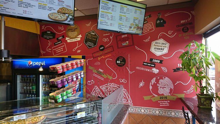 Wall Graphic, Wall Wrap Gino's Pizza- Signage - Vinyl Wrap Toronto