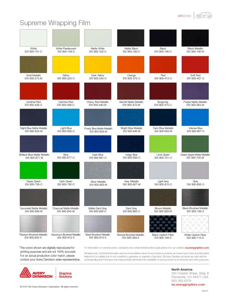 Car Wrap Colours - Avery Dennison Supreme Wrapping Film