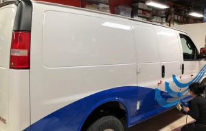 Vinyl Wrap Toronto GMC Savannah 2019 Avery Dennison White Truck Decal CoolCheck Side Install - Van Decals - Van Decals
