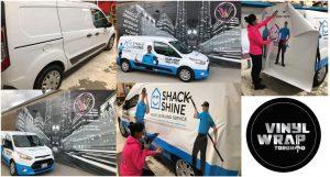Vinyl Wrap Toronto Ford Transit Connect 2020 Avery Dennison White Van Full Shack Shine Collage