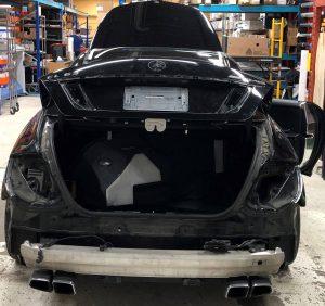 Vinyl Wrap Toronto Merc C63 AMG Metalic Charcoal Avery Dennison Installation Back