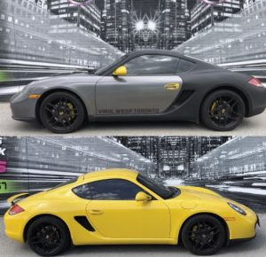 Vinyl Wrap Toronto Porsche unwrapped Yellow Cayman Carbon Fiber Before After