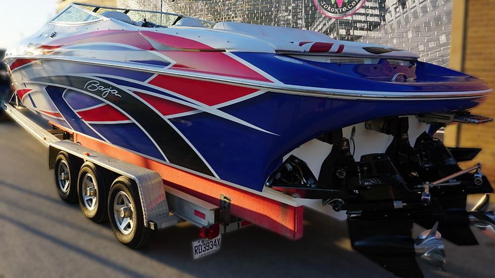 Baja - Special - 38ft - Full Boat Wrap in Etobicoke - back side - Personal - Vinyl Wrap Toronto - Vehicle Wrap - Lettering & Decals