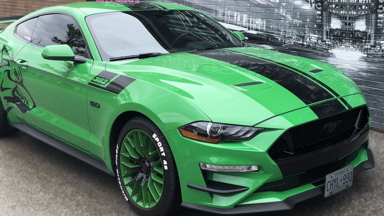 VinylWrapToronto Ford Mustang Coyote Green Decals Side After side view