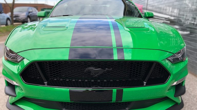 Ford Mustang Coyote 2019 Decals Personal front vinyl wrap Toronto - racing stripes, auto tinting, full car wrap, partial car wrap, GTA