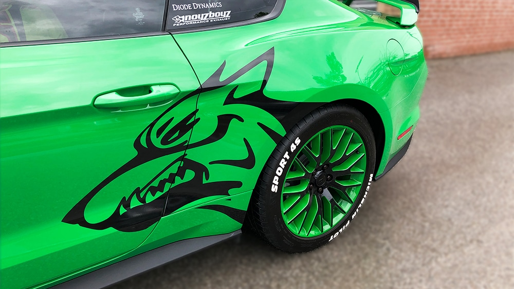 Ford Mustang Coyote 2019 Decals side vinyl wrap Toronto - racing stripes, car outline, personal car wrap, GTA - Vehicle Wrap