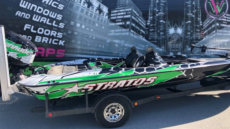 Full Wrap - Boat - Roshan - Avery Dennison - Stratos Boat Evinrude - Right - Side - After - Vinyl Wrap Toronto - Lettering & decals - Boat Wrap in Etobicoke