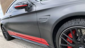 Vinyl Wrap Toronto Mercedes C63S 2020 Red Carmichael Black