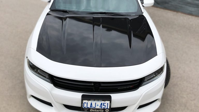 Partial Wrap Dodge Charger front top view - Vinyl Wrap Toronto - Lettering & Decals - Racing Stripes