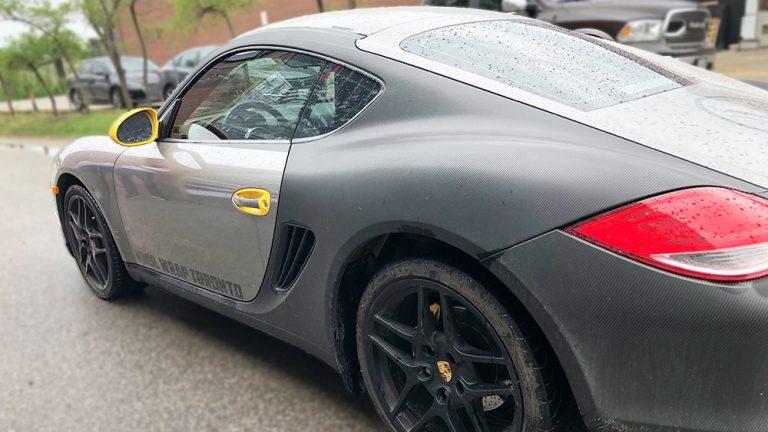 Porsche Cayman - 2014 - Full Wrap - Personal - sideback - Vinyl Wrap Toronto - Car Wrap in Etobicoke - Tinting - Paint Protection - Racing Stripes - Avery Dennison & 3M