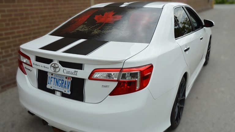 Toyota - Camry - SE - 2019 - Car Lettering & Decals - Personal - Vinyl Wrap Toronto - Racing Stripes - Vehicle Wrap In Mississauga