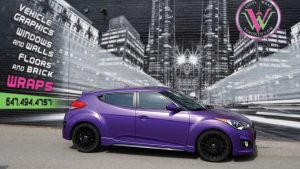Hyundai Veloster 2016 - Vinyl Wrap Toronto - Full Car Wrap - Vehicle Wrap in GTA - Satin Purple - After - Avery Dennison & 3M - Tinting - Etobicoke