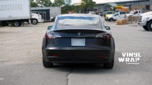 Tesla Model 3 2020 - Personal - Full Wrap - Vinyl Wrap Toronto - Back - Car Wrap in Brampton - Avery Dennison & 3M - Satin Black