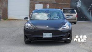 Tesla Model 3 2020 - Personal - Full Wrap - Vinyl Wrap Toronto - Front - Vehicle Wrap in Mississauga - Satin Black