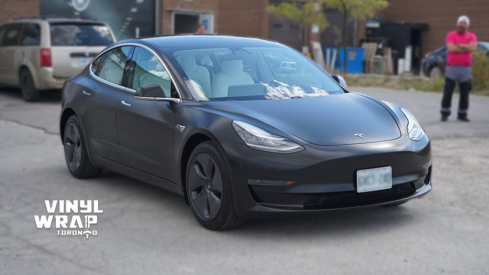 Tesla Model 3 2020 - Personal - Full Wrap - Vinyl Wrap Toronto - Car Wrap in GTA - Avery Dennison - 3M - Satin Black