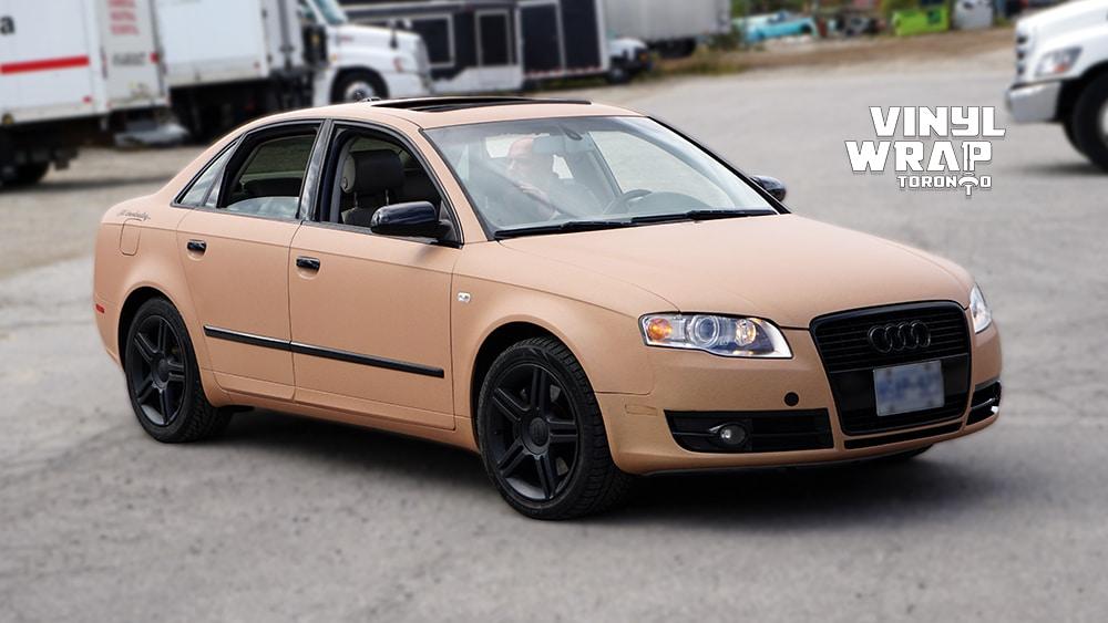 Audi A4 2006 - Full Car Wrap - VinylWrapToronto.com - Sand Vinyl Wrap Toronto - Vehicle Wrap - Side Front - Personal