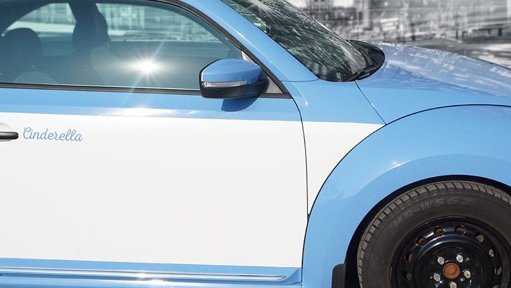 Volkswagen Beetle - Full Wrap - Personal - Disney - Cinderella Theme - Avery Dennison - Vinyl Wrap Toronto - After - Closeup