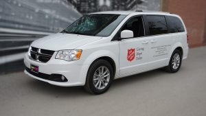 Dodge Caravan 2020 - Commercial Van Decals - VinylWrapToronto.com - The Salvation Army - Vinyl Stickers - Front Side