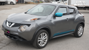 Nissan Juke 2016 - VinylWrapToronto.com - Vehicle Decals & Lettering - Best Vehicle Wrap in Toronto - 3M - Gloss Atomic Teal - Front Side