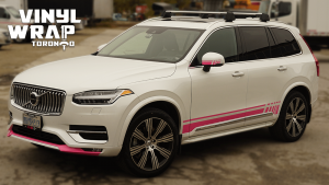 Volvo XC90 - Hot Pink Decals - Racing Stripes - Avery Dennison - Lettering & Decals - Best Car Wrap in Toronto - Vinyl Wrap Toronto - Front - Side